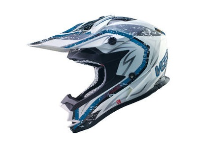 V-CAN V321 MX Helmet - Blue/White/Storm